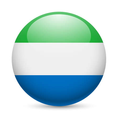 Flag of Sierra Leone as round glossy icon. Button with flag colors Vector