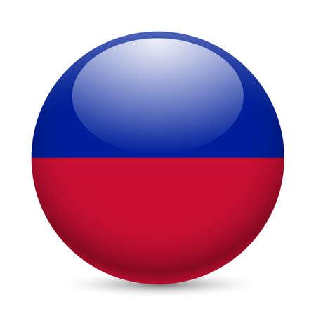 haitian: Flag of Haiti as round glossy icon. Button with Haitian flag