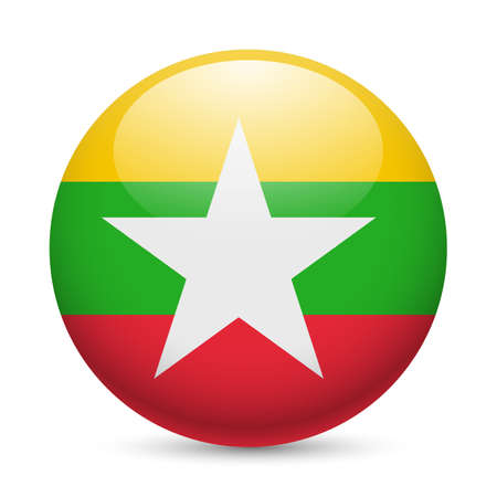 myanmar: Flag of Myanmar as round glossy icon. Button with flag design