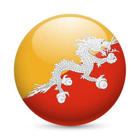 Flag of Bhutan as round glossy icon. Button with Bhutanese flag Vector