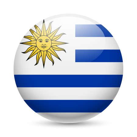 bandera de uruguay: Bandera de Uruguay como redonda icono brillante. Botón con la bandera uruguaya