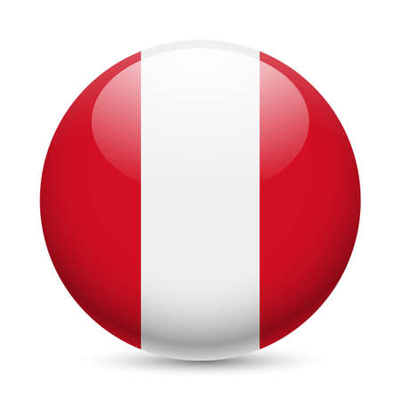 Flag of Peru as round glossy icon. Button with Peruvian flag Vector