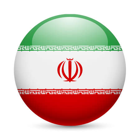 iranian: Flag of Iran as round glossy icon. Button with Iranian flag Illustration