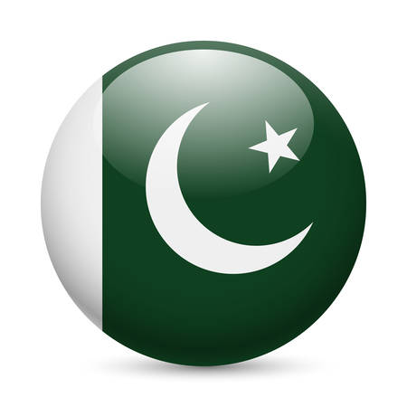 pakistan flag: Flag of Pakistan as round glossy icon. Button with Pakistani flag