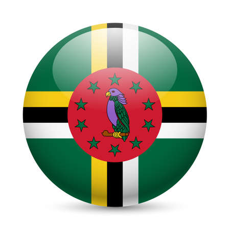 flag button: Flag of Dominica as round glossy icon. Button with Dominican flag