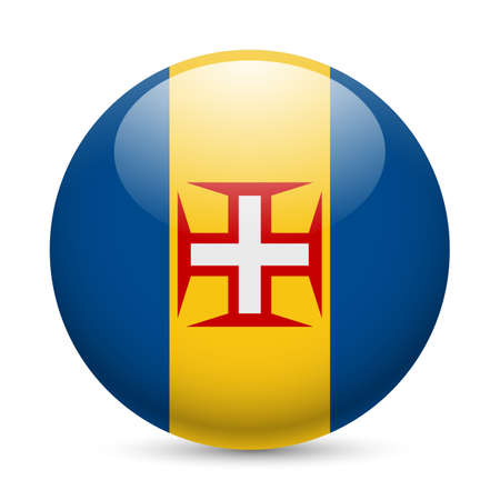 madeira: Flag of Madeira as round glossy icon. Button with flag colors Illustration