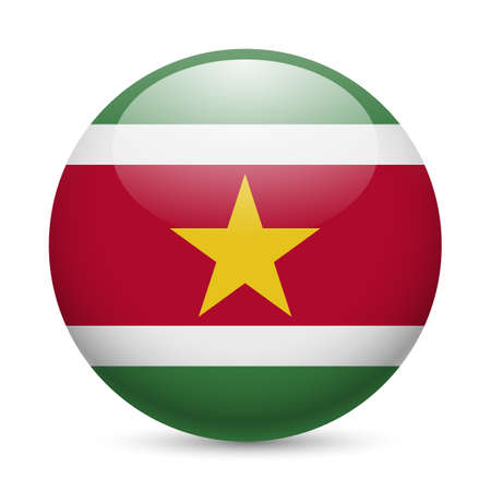 suriname: Flag of Suriname as round glossy icon. Button with Surinamese flag