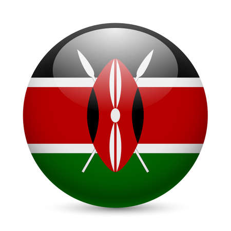 Flag of Kenya as round glossy icon. Button with Kenyan flag Stock Vector - 29206328