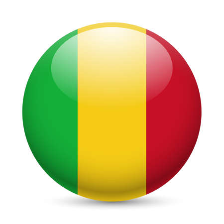 mali: Flag of Mali as round glossy icon. Button with Malian flag