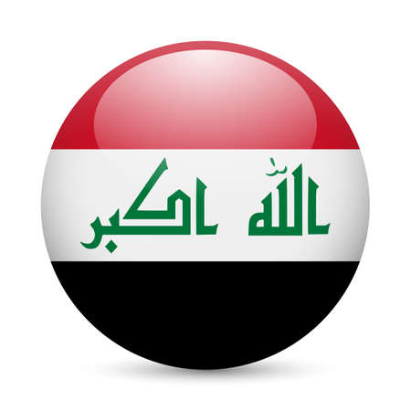 Flag of Iraq as round glossy icon. Button with Iraqi flag Stock Vector - 29206335
