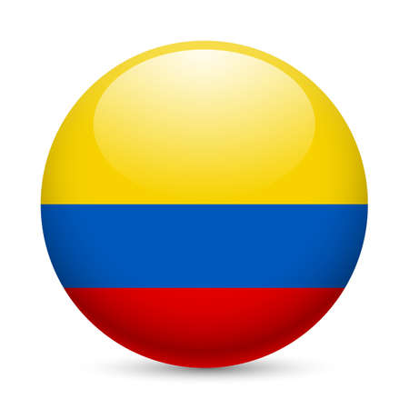colombia flag: Flag of Colombia as round glossy icon. Button with Colombian flag