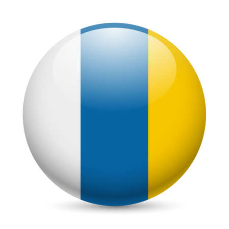 canary island: Flag of Canary Islands as round glossy icon. Button with flag colors Illustration