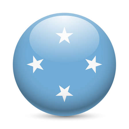 micronesia: Flag of Federated States of Micronesia as round glossy icon. Button with flag design