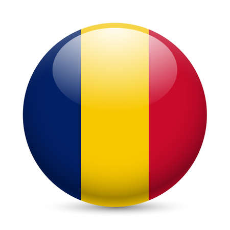 chad: Flag of Chad as round glossy icon. Button with Chadian flag