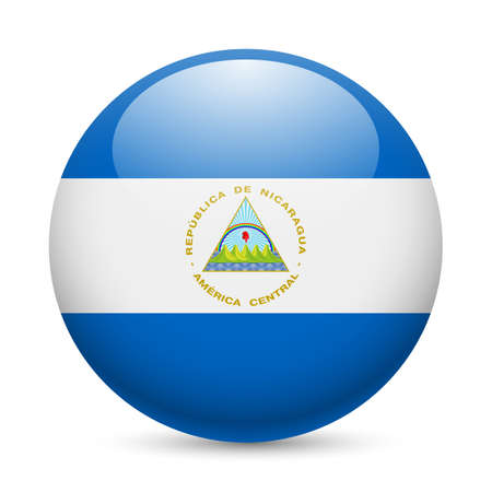 nicaraguan: Flag of Nicaragua as round glossy icon. Button with Nicaraguan flag