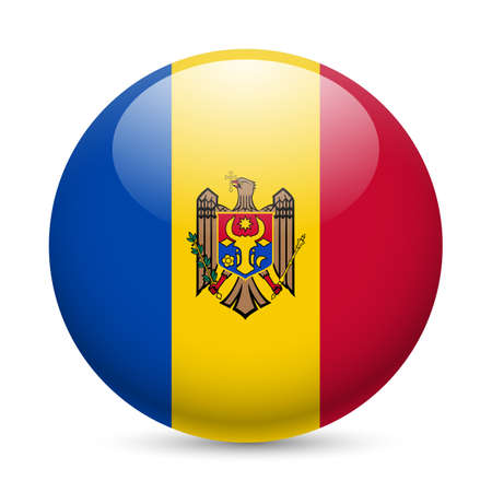 moldovan: Flag of Moldova as round glossy icon. Button with Moldovan flag