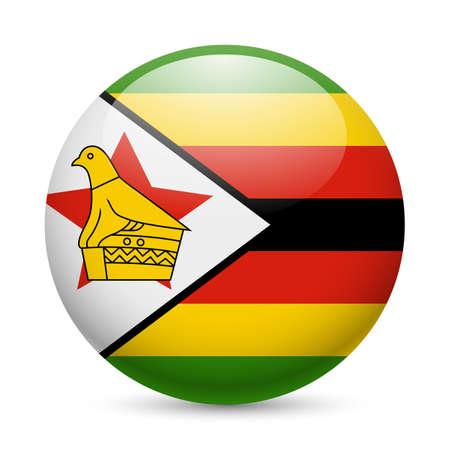 zimbabwe: Bandera de Zimbabwe como redonda icono brillante. Botón con la bandera de Zimbabwe