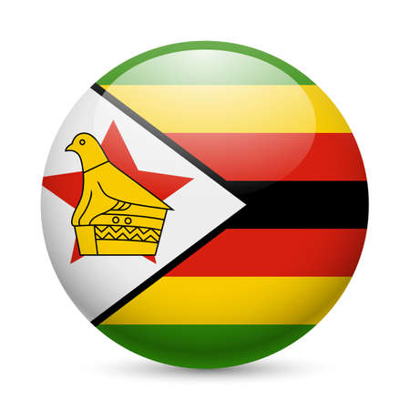 Flag of Zimbabwe as round glossy icon. Button with Zimbabwean flag Stock Vector - 29206405