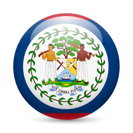 flag button: Flag of Belize as round glossy icon. Button with Belizean flag