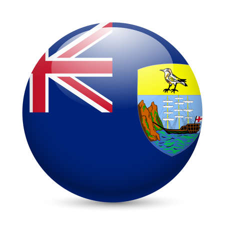 exile: A round badge in the colours of Saint Helena flag. Illustration