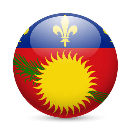 guadeloupe: A round badge in the colours of Guadeloupe islands flag. Illustration