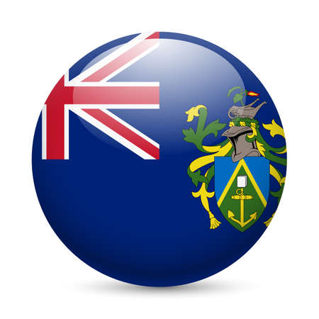 A round badge in the colours of The Pitcairn islands flag. Vector