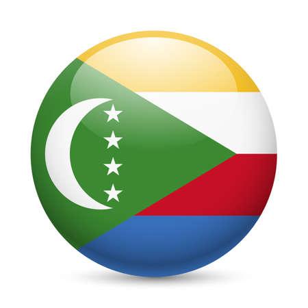 comoros: A round badge in the colours of The Comoros islands flag.