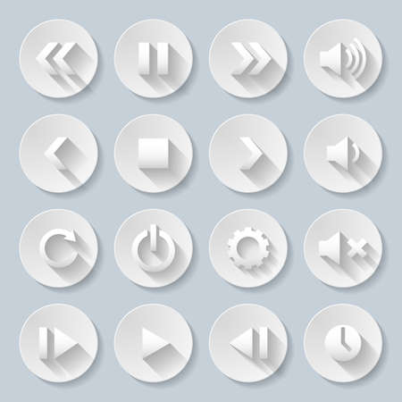 paper cut out: Set of media player buttons in paper style