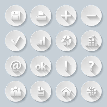Set of computor, Web site and Internet icons in paper style Vector