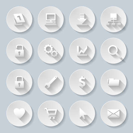 Web site and Internet icons set in paper style Vector