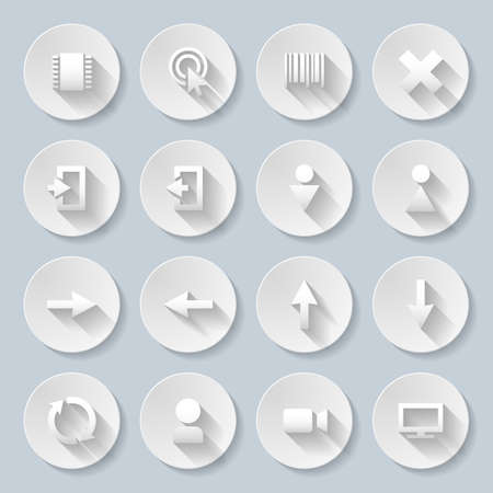Set of interface icons in paper style Vector