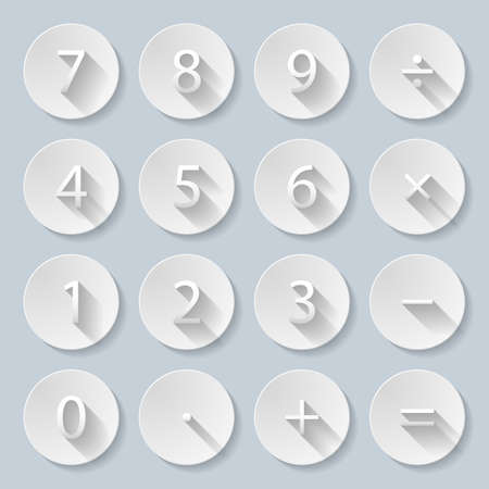 sign equals: Set of numbers and mathematical signs in paper style