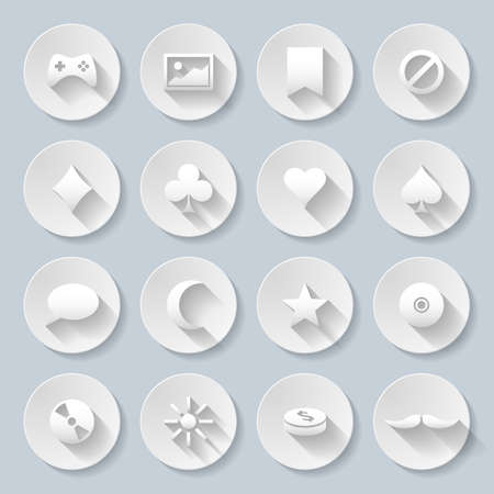 paper cut out: Set of game and Web site interface icons in paper style
