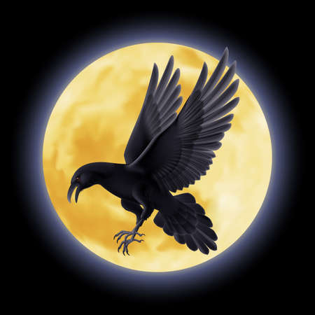 Black crow flying on the background of a full moon Illustration