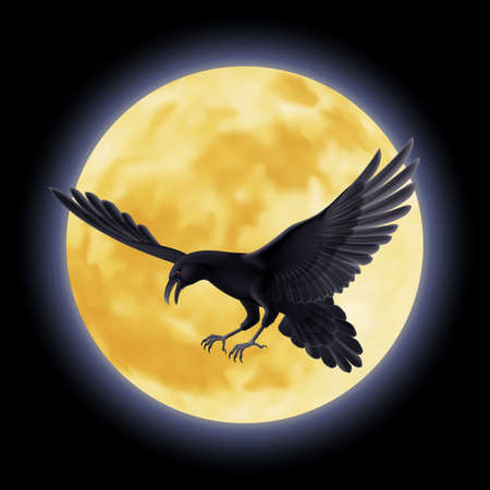 Black crow soars on the background of a full moon