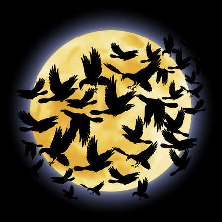 Black crows flying on the background of a full moon night Vector