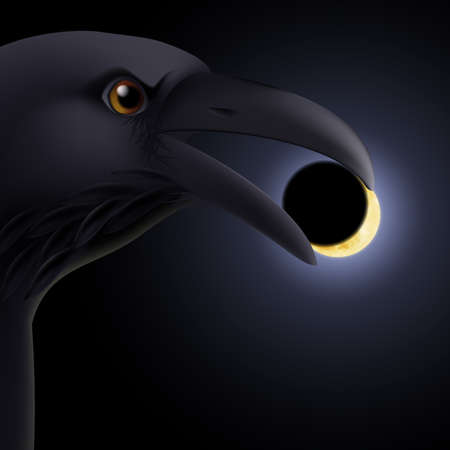 Black crow holding in its beak a darkened moon Vector