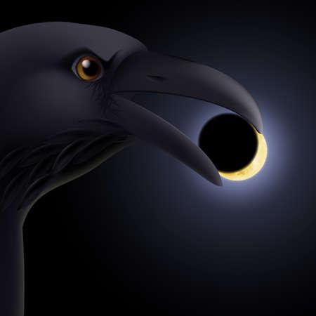 beak: Black crow holding in its beak a darkened moon