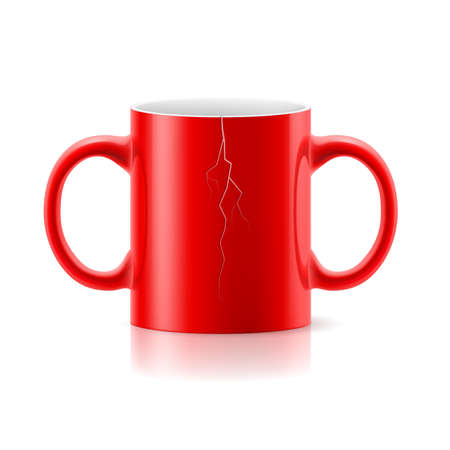 Red mug with a handle on each side on white background. Vector