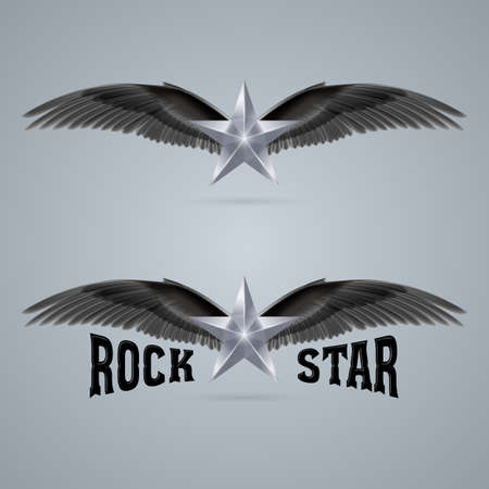 Rock stars soars on the wings of music on the waves Vector