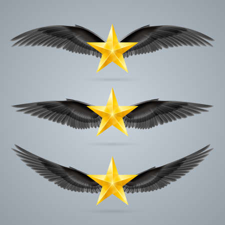 Gold rock stars soars on the wings of music on the waves Vector