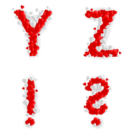 exclamation point: Letters Y, Z, query mark and exclamation point of paper hearts Illustration