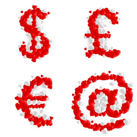 Currency and at signs made of paper hearts Vector