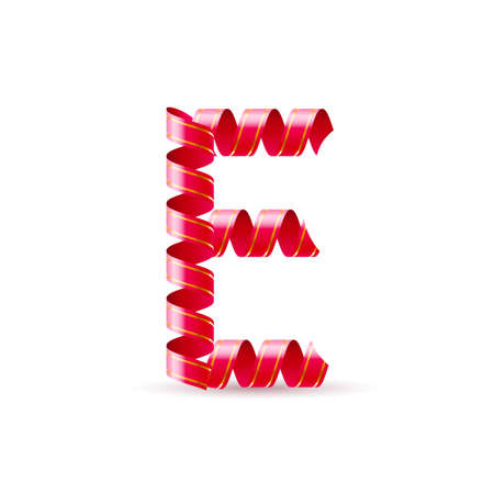 e new: Letter E made of red curled shiny ribbon Illustration