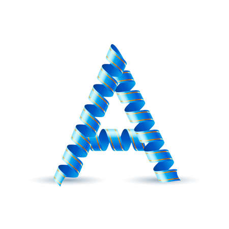 Letter A made of blue curled shiny ribbon Vector