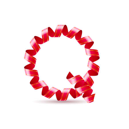 Letter Q made of red curled shiny ribbon Vector