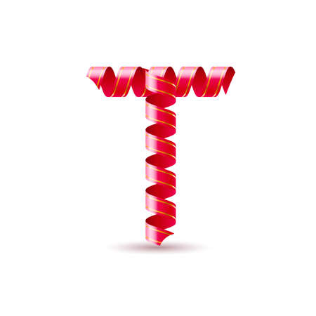 Letter T made of red curled shiny ribbon Vector