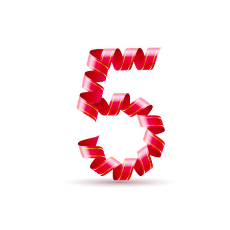 arabic numeral: Number five made of red curled shiny ribbon Illustration