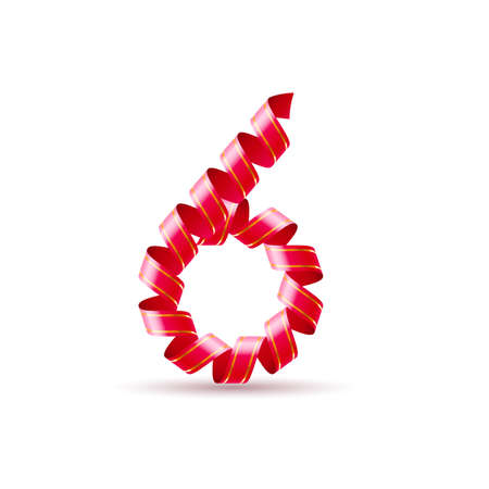 arabic numeral: Number six made of red curled shiny ribbon