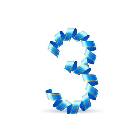 curled: Number three made of blue curled shiny ribbon